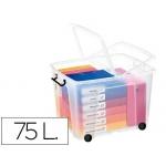 Contenedor plástico Cep 75 litros 485x600x415 mm transparente con tapa cierre hermético y 4 ruedas