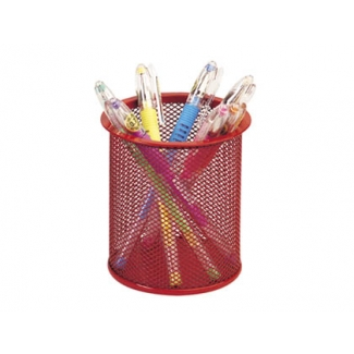 Cubilete portalápices Q-connect metálico de rejilla redondo color rojo
