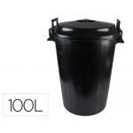 Cubo de basura, con tapa, 100 litros, color negro