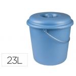 Cubo de basura doméstico con tapa 23 litros para bolsas 55x60 cm color azul