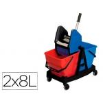 Cubo de limpieza duo de polipropileno + escurridor capacidad 2x18 l
