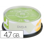Dvd-r Q-connect capacidad 4,7gb duración 120min velocidad 16x bote de 25 unidades