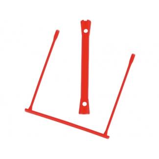 Encuadernador fastener Q-connect plástico d-clips color rojo caja de 100 unidades