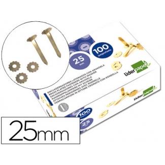 Liderpapel FS05 - Encuadernador con arandela, latonado, longitud de 25 mm, caja de 100