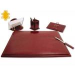 Escribanía de sobremesa artesanía de piel juego de 5 piezas medidas 40x53,5x2,7 cm .base de madera