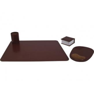 Csp - Escribanía de sobremesa, piel sintética, 4 piezas, color marrón