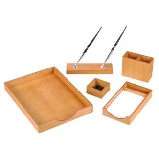 Csp - Escribanía de sobremesa, madera, 5 piezas, color cerezo claro