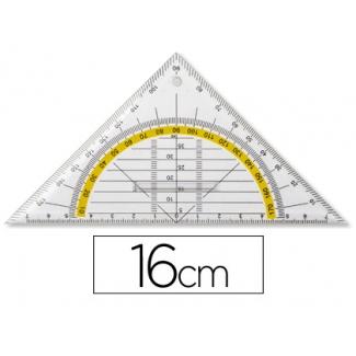 Escuadra Liderpapel geometría 16 cm plástico cristal con pestaña de sujeccion