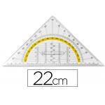 Escuadra Liderpapel geometría 22 cm plástico cristal con pestaña de sujeccion