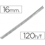 Q-Connect KF04418 - Espiral metálico, paso 4:1, diámetro de 16 mm, para 120 hojas, caja de 100