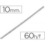 Q-Connect KF04429 - Espiral metálico, paso 5:1, diámetro de 10 mm, para 60 hojas, caja de 200