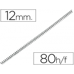 Q-Connect KF04430 - Espiral metálico, paso 5:1, diámetro de 12 mm, para 80 hojas, caja de 200