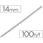 Q-Connect KF04431 - Espiral metálico, paso 5:1, diámetro de 14 mm, para 100 hojas, caja de 100
