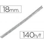 Q-Connect KF04433 - Espiral metálico, paso 5:1, diámetro de 18 mm, para 140 hojas, caja de 100