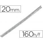 Q-Connect KF04434 - Espiral metálico, paso 5:1, diámetro de 20 mm, para 160 hojas, caja de 100