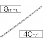 Q-Connect KF04428 - Espiral metálico, paso 5:1, diámetro de 8 mm, para 40 hojas, caja de 200
