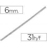 Espiral plástico color negro paso 4:1 6 mm capacidad 31 hojas caja de 100 unidades