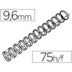 Espiral wire 3:1 9,6 mm Nº 6 color negro capacidad 75 hojas caja de 100 unidades