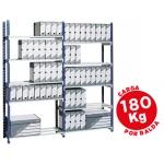 Estantería Fast-PaperFlow metálica color azul 5 estantes gris 180kg por estante 900kg por modulo 200x100x35 cm base