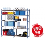 Estantería Fast-PaperFlow metálica color azul 5 estantes gris 180kg por estante 900kg por modulo 200x100x70 cm adicional