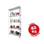 Estantería metálica ar storage 170x75x30 cm 5 estantes 40 kg por estante color blanco