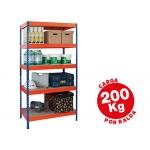 Estantería metálica ar storage 180x90x45 cm 5 estantes 200kg por estante bandejas de maderasin tornillos color azul naranja