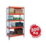 Estantería metálica ar storage 192x100x50 cm 5 estantes 300kg por estante bandejas de maderasin tornillos color azul naranja