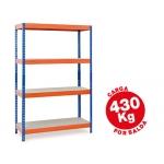 Estantería metálica ar storage 200x100x60 cm 4 estantes 430kg por estante bandejas de maderasin tornillos color azul naranja