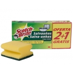 Estropajo salvauñas Scotch brite fibra color verde paquete 3x2