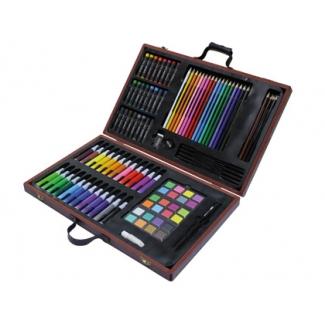 Estuche de pintura Stetro caja de madera 106 piezas maletin