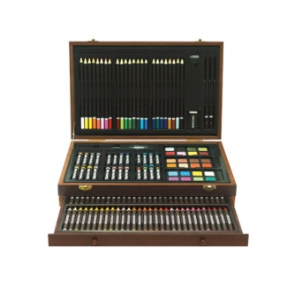 Estuche de pintura Stetro caja de madera 141 piezas cofre deluxe