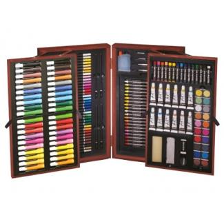 Estuche de pintura Stetro caja de madera 178 piezas maletin deluxe