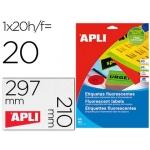 Etiqueta adhesiva Apli 02879 210x297 mm para fotocopiadora laser caja con 20 hojas tamaño A4 color naranja