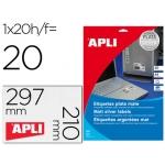 Etiqueta adhesiva Apli 10071 metalizada tamaño 210x297 mm para fotocopiadora laser caja 20 hojas con 20
