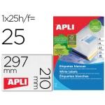 Apli 01215 - Etiquetas adhesivas, 210 x 297 mm, caja de 25 hojas