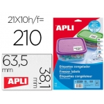 Etiqueta adhesiva Apli 12328 tamaño 63,5x38,1 mm para congelados caja con 10 hojas formato A4 blancas directiva europea