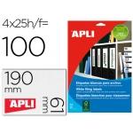 Apli 01233 - Etiquetas adhesivas, 190 x 61 mm, caja de 25 hojas