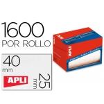 Etiqueta adhesiva Apli 1690 tamaño 25x40 mm en rollo de 1600 unidades
