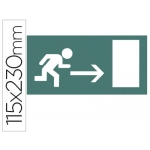 Etiqueta adhesiva Apli de señalizacion indicador dirección a la derecha de puertas de salida 115x230 mm
