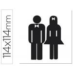 Etiqueta adhesiva Apli de señalizacion silueta hombre y mujer 114x114 mm