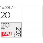 Apli 01225 - Etiquetas adhesivas, poliéster, resistente a la intemperie, transparentes, 210 x 297 mm, caja de 20 hojas