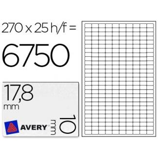 Etiqueta adhesiva Avery tamaño 17.8x10 mm removible paquete de 25 hojas