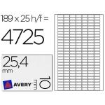Etiqueta adhesiva Avery tamaño 25,4x10 mm removible paquete de 25 hojas especial codigos de barras