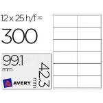 Etiqueta adhesiva Avery tamaño 99,1 x 42,3 mm 300 un removibles impresoras laser 25 hojas 12 etiquetas x hoja