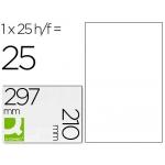Etiqueta adhesiva Q-connect tamaño A4 para laser transparente caja de con 25 hojas formato A4