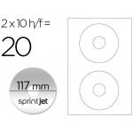 Etiqueta adhesiva Sprint jet din A4 para cd-dvd metalizado pack de 10 hojas