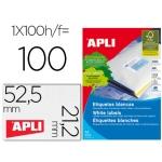 Etiqueta adhesiva apli 1284 tamaño 52,5 x 21,2 mm para fotocopiadora laser ink-jet caja con 100 hojas formato A4