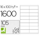 Etiqueta adhesiva q-connect referencia kf10653 tamaño 105x35 mm fotocopiadora laser ink-jet caja con 100 hojas formato A4