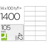Etiqueta adhesiva q-connect referencia kf10655 tamaño 105x42 mm fotocopiadora laser ink-jet caja con 100 hojas formato A4