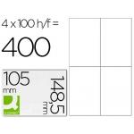 Etiqueta adhesiva q-connect referencia kf10660 tamaño 105x148,5 mm fotocopiadora laser ink-jet caja con 100 hojas formato A4
